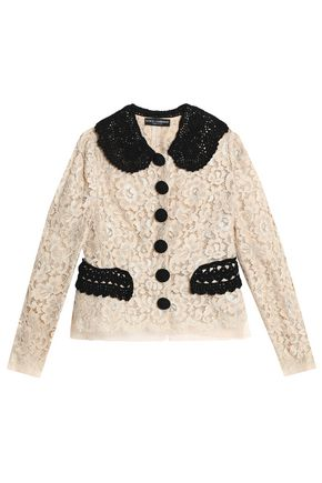 DOLCE & GABBANA Crochet-trimmed corded lace jacket
