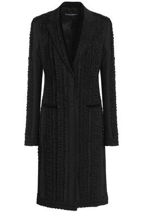 DOLCE & GABBANA Velvet-trimmed embroidered wool-blend coat