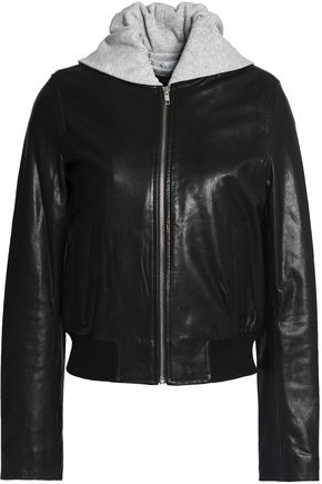 A.L.C. Leather and mélange cotton-terry hooded jacket