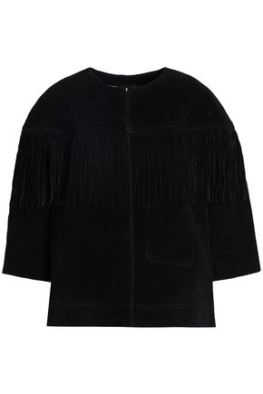 CURRENT/ELLIOTT Fringe-trimmed suede jacket
