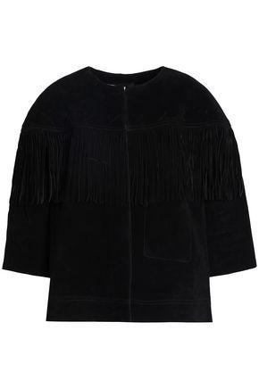 CURRENT/ELLIOTT Fringe-trimmed suede jacket