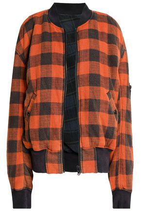 R13 Reversible checked cotton-flannel bomber jacket
