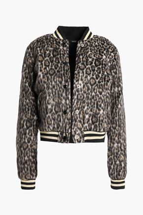 R13 Roadie leopard-print brushed-felt bomber jacket
