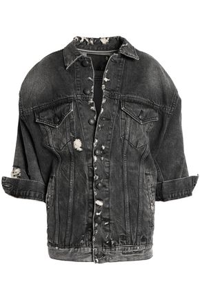 R13 Oversized Trucker distressed denim jacket