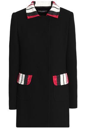 DOLCE & GABBANA Jacquard-trimmed wool-blend crepe jacket