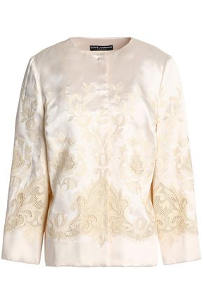 DOLCE & GABBANA Mesh-trimmed embroidered silk-blend twill jacket