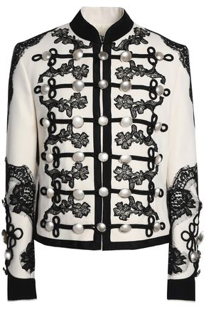 DOLCE & GABBANA Button-embellished lace-trimmed wool-blend jacket