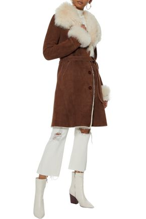 SOIA & KYO Belted suede shearling coat