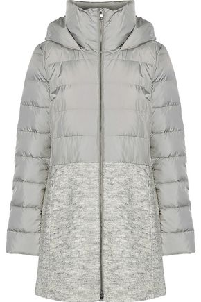 SOIA & KYO Valery bouclé-paneled quilted shell down hooded coat