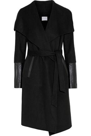 Ottavia Leather Trimmed Wool Blend Felt Coat by Soia & Kyo