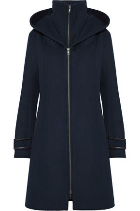 SOIA & KYO Alika leather-trimmed wool-blend felt hooded coat