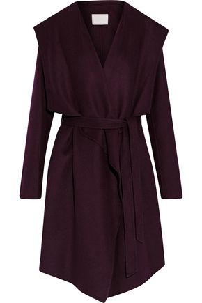 SOIA & KYO Belted wool-blend hooded coat