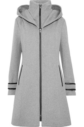 SOIA & KYO Alika leather-trimmed wool-blend felt hooded coat