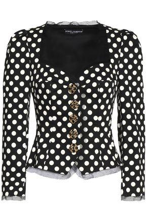 DOLCE & GABBANA Embellished printed cotton-blend gabardine jacket