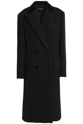 DOLCE & GABBANA Double-breasted velvet-trimmed wool and cotton-blend coat