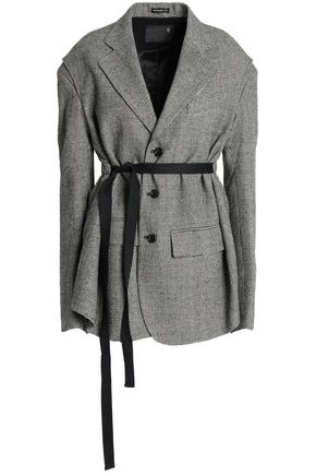 R13 Gathered belted houndstooth wool blazer