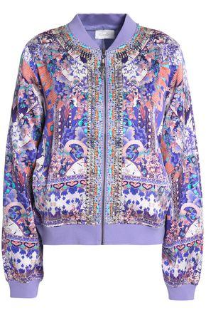 CAMILLA Embellished silk crepe de chine bomber jacket