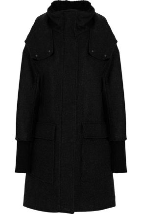 SOIA & KYO Faux fur-trimmed brushed wool-blend hooded coat