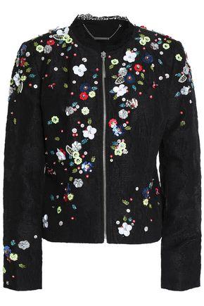 ELIE TAHARI Embellished cotton-blend crepe jacket