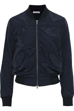 VINCE. Ruched cotton-blend shell bomber jacket
