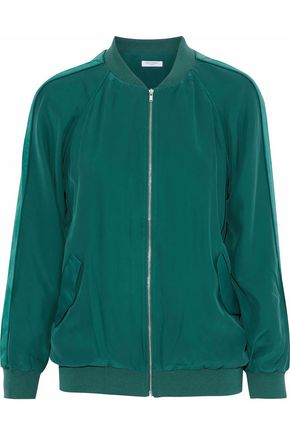 EQUIPMENT Satin-trimmed washed-silk bomber jacket