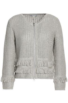 AUTUMN CASHMERE Fringe-trimmed open-knit cotton jacket