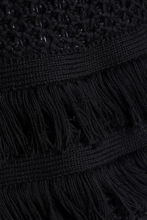 AUTUMN CASHMERE Fringe-trimmed ribbed-knit cotton sweater