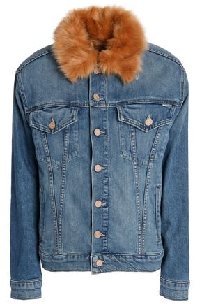 MOTHER Faux fur-trimmed denim jacket