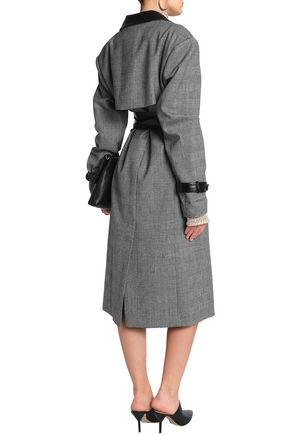 MAGDA BUTRYM Belted leather-trimmed Prince of Wales checked wool trench coat