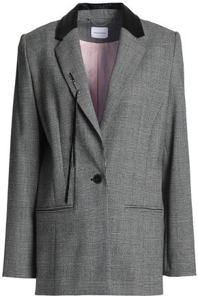 MAGDA BUTRYM Embellished Prince of Wales checked stretch-wool blazer