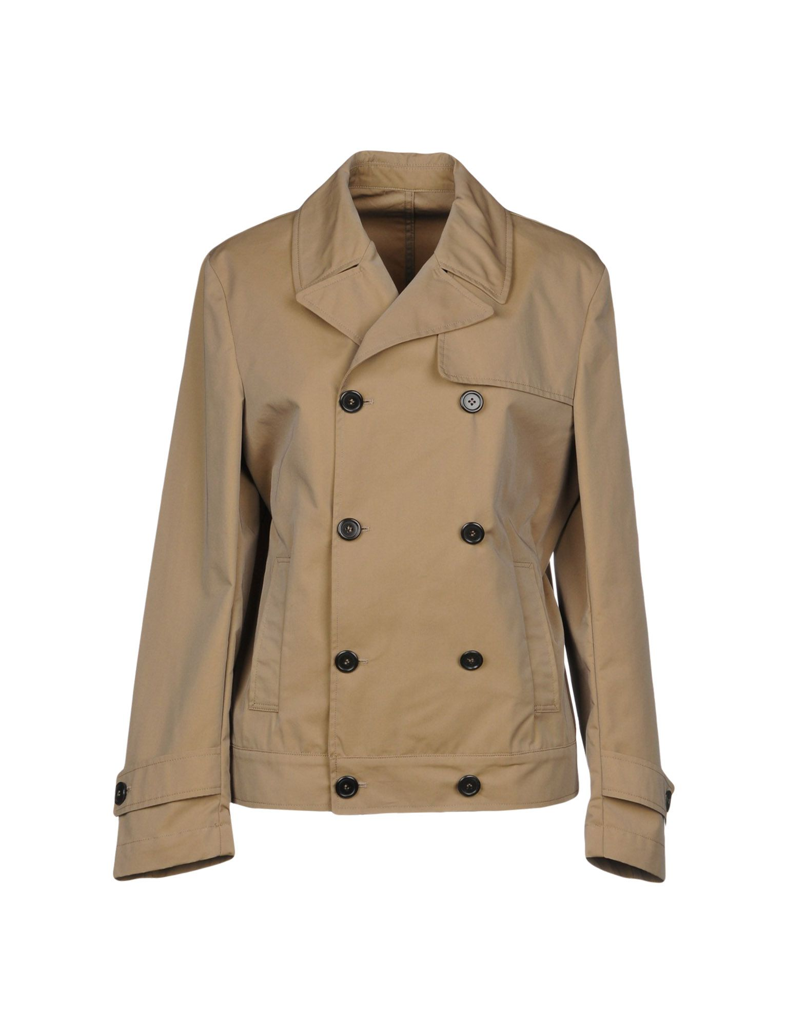 AGLINI Double Breasted Pea Coat in Khaki
