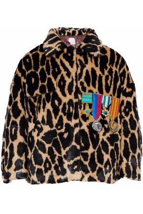 STELLA JEAN Appliquéd leopard-print faux fur jacket
