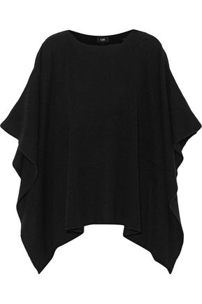 LINE Draped ribbed wool and cashmere-blend poncho