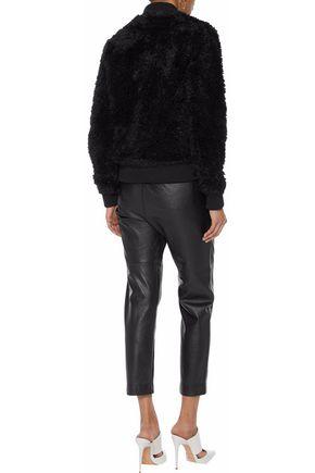 LINE Ribbed knit-paneled faux fur bomber jacket