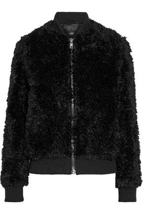 LINE Ribbed knit-paneled faux fur bomber jacket