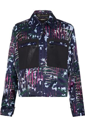 VERSACE Leather-paneled printed duchesse-satin jacket