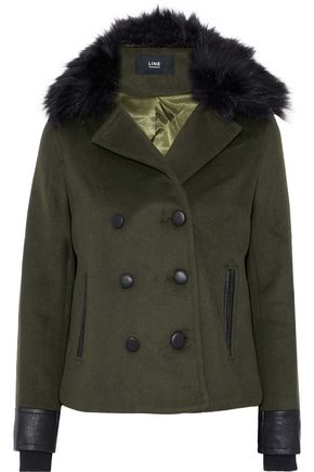 LINE Drew double-breasted faux fur-trimmed wool-blend coat
