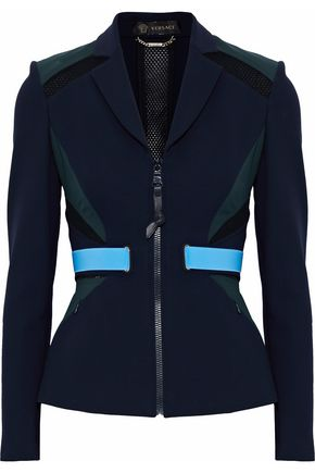 VERSACE Color-block mesh-paneled stretch-knit blazer