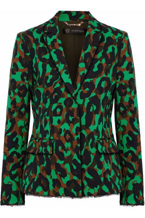 VERSACE Frayed printed stretch-cotton blazer