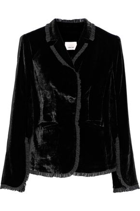 CINQ À SEPT Rowland ruffled chiffon-trimmed velvet jacket