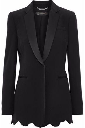 VERSACE Crystal-embellished satin-trimmed crepe blazer
