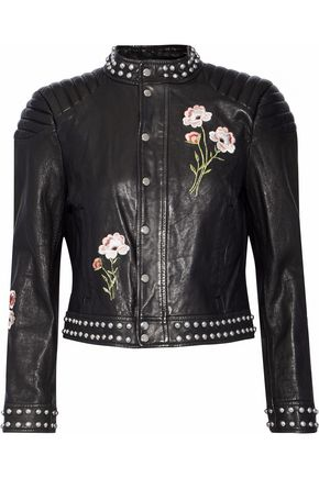 CINQ À SEPT Kinu studded embroidered leather jacket