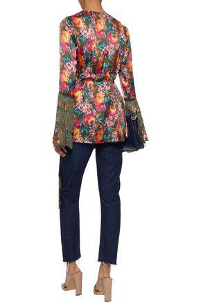 ANNA SUI Fringe-trimmed printed silk wrap jacket