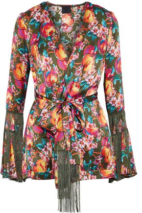 ANNA SUI Fringe-trimmed printed silk wrap jacket