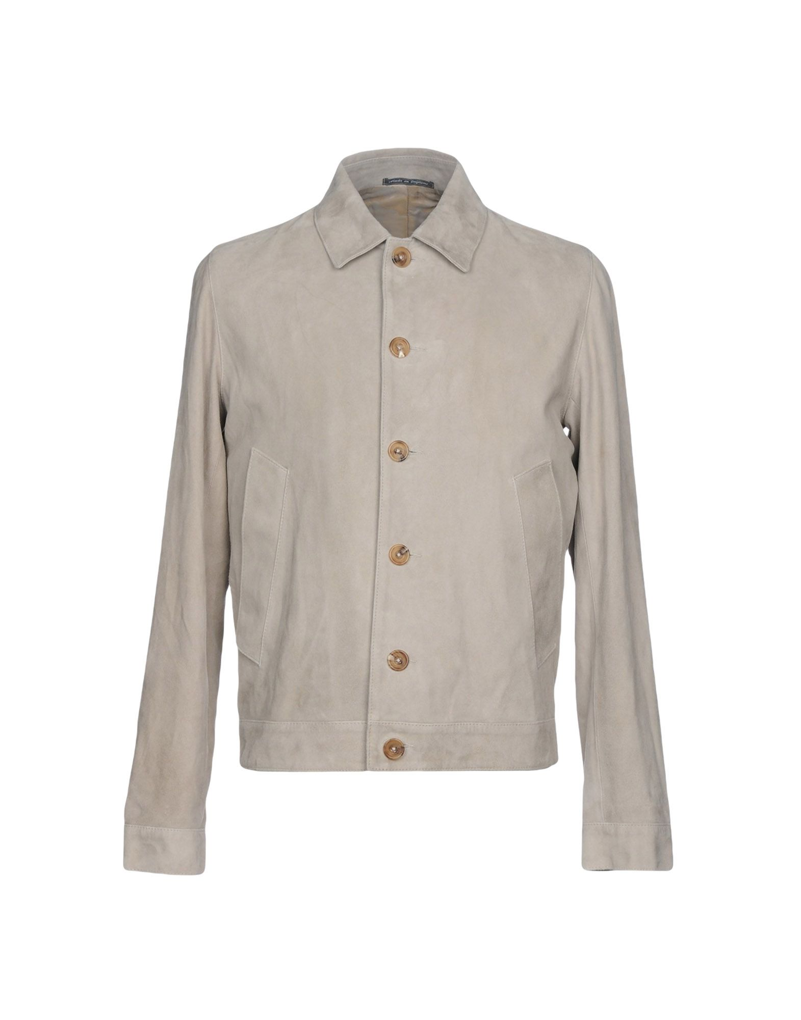RICHARD JAMES Leather Jacket in Light Grey