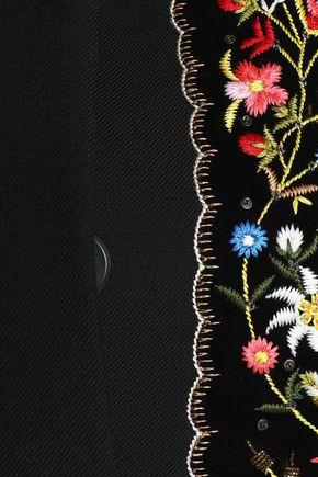 VILSHENKO Embellished velvet-appliquéd gabardine cape