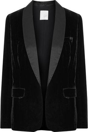 JOIE Mehira H silk satin-trimmed velvet blazer