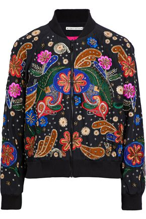 ALICE + OLIVIA Embellished floral-appliquéd silk-voile bomber jacket
