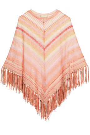 VALENTINO Fringed striped pointelle-knit silk poncho