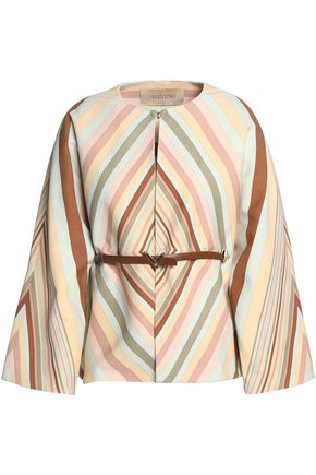 VALENTINO Belted printed wool and silk-blend top